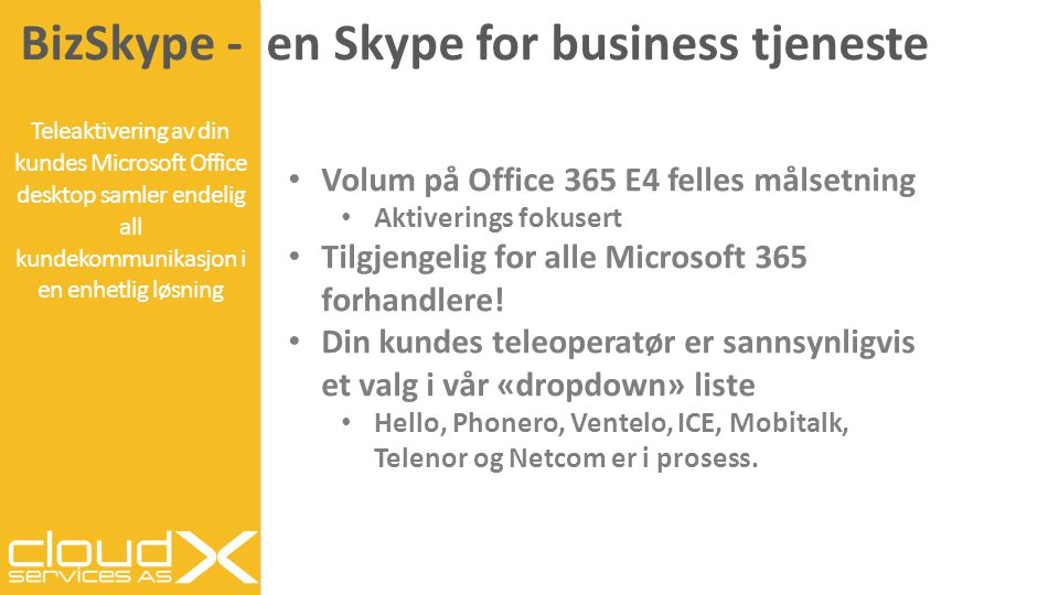 BizSkype - en Skype for business tjeneste