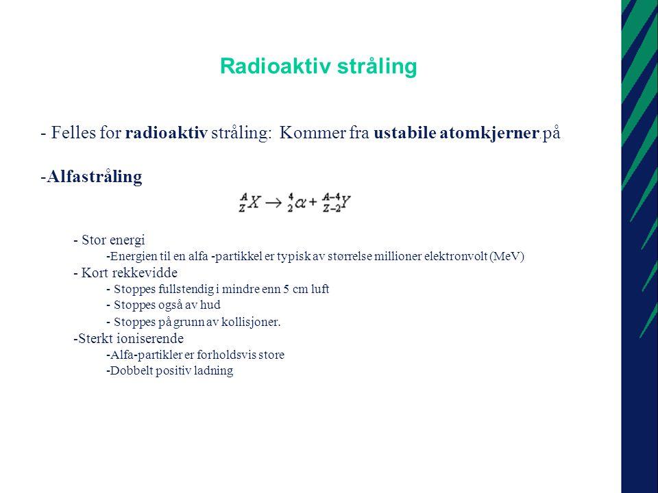 Radioaktiv stråling Felles for radioaktiv stråling: Kommer fra ustabile atomkjerner. på. Alfastråling.