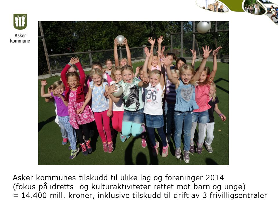 Asker kommunes tilskudd til ulike lag og foreninger 2014 (fokus på idretts- og kulturaktiviteter rettet mot barn og unge) = 14.400 mill.