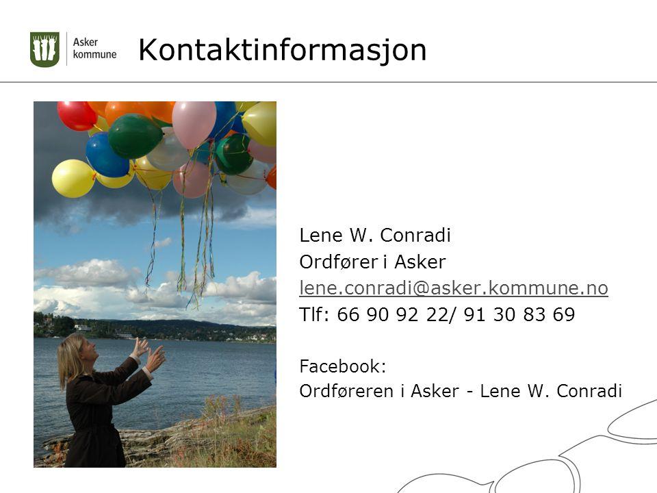 Kontaktinformasjon Lene W. Conradi Ordfører i Asker