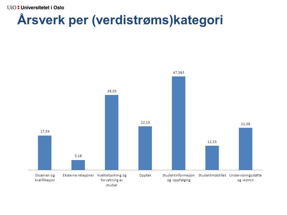 Årsverk per (verdistrøms)kategori