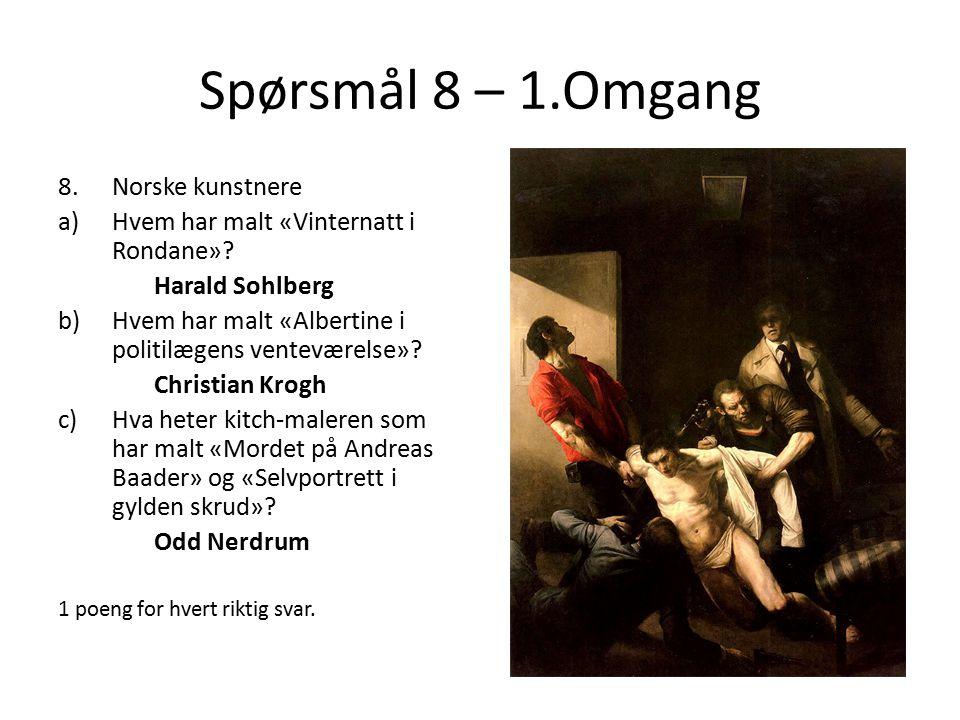 Spørsmål 8 – 1.Omgang Norske kunstnere
