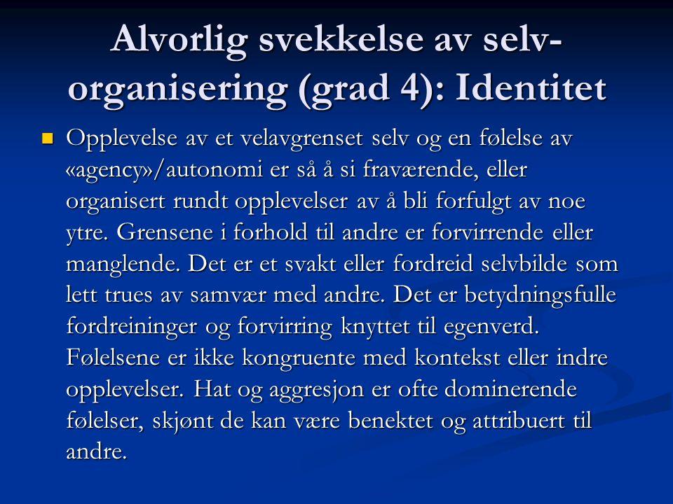 Alvorlig svekkelse av selv-organisering (grad 4): Identitet