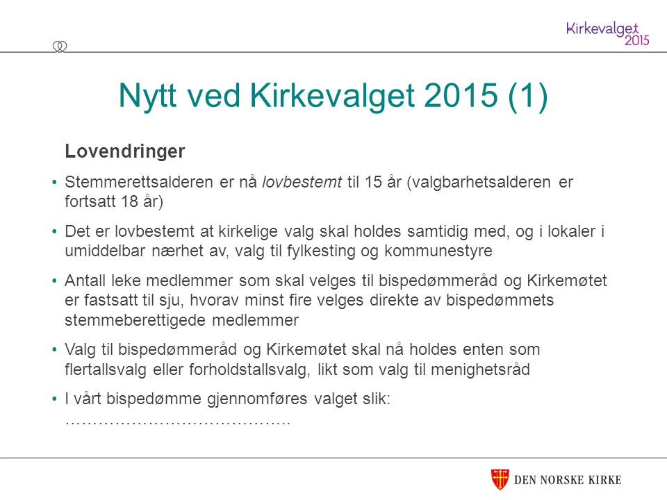 Nytt ved Kirkevalget 2015 (1)