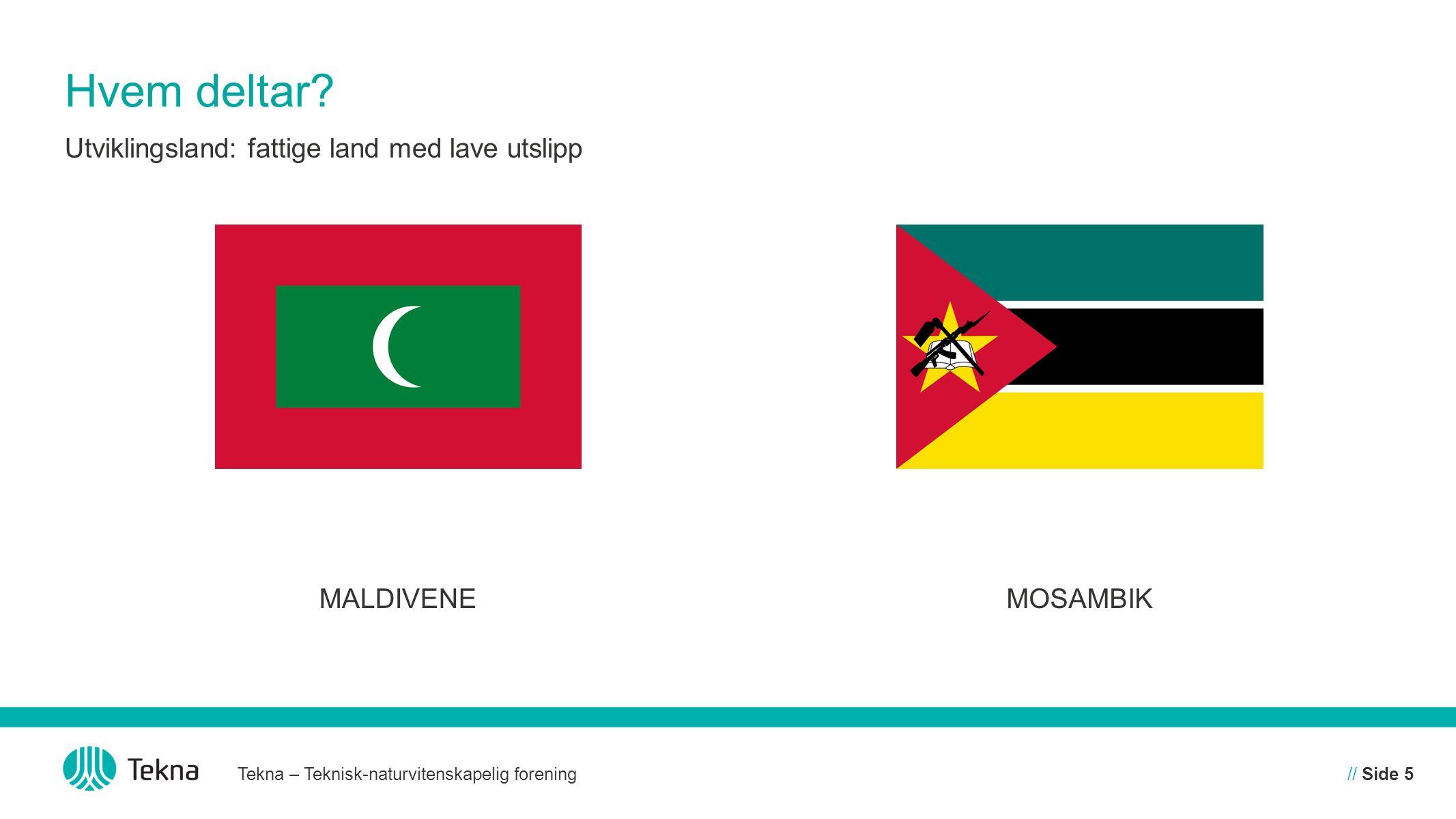 Hvem deltar Utviklingsland: fattige land med lave utslipp MALDIVENE