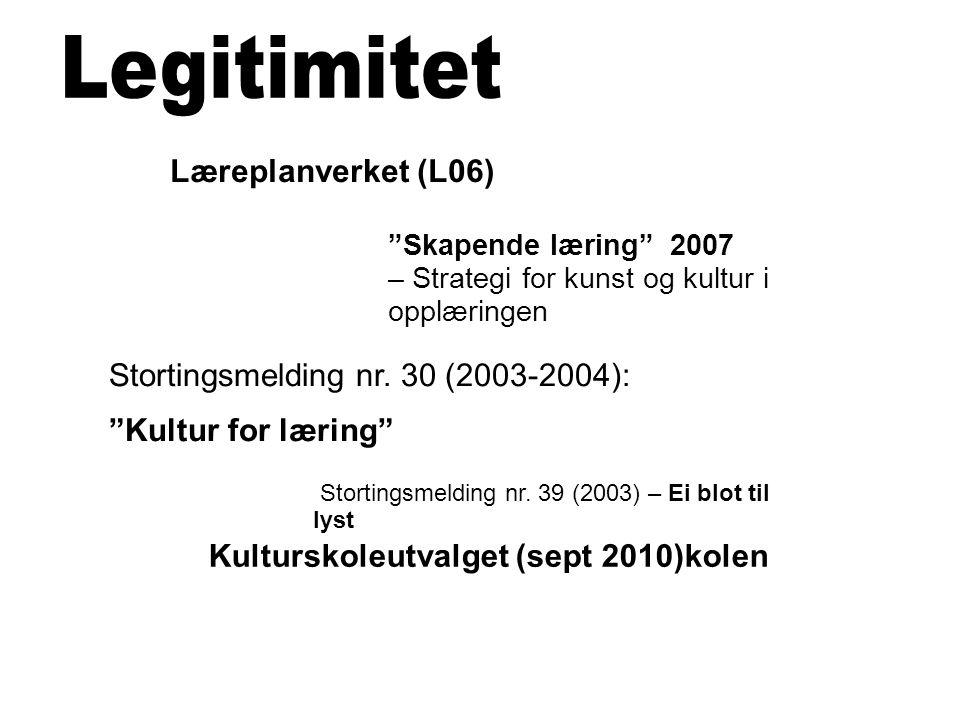 Legitimitet Læreplanverket (L06) Stortingsmelding nr. 30 (2003-2004):