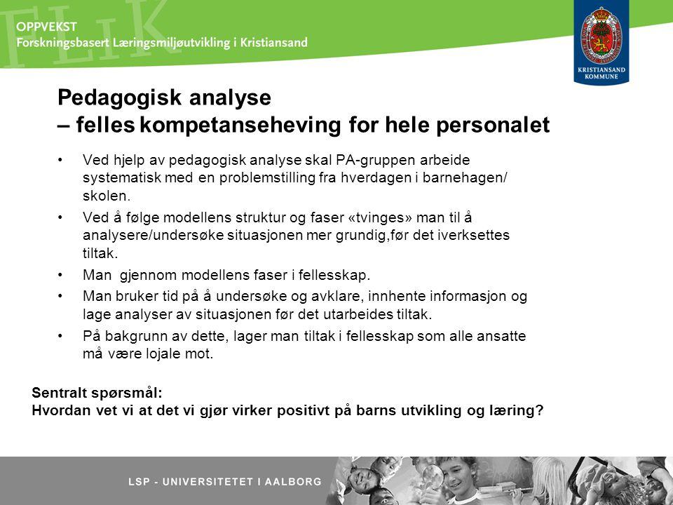 Pedagogisk analyse – felles kompetanseheving for hele personalet