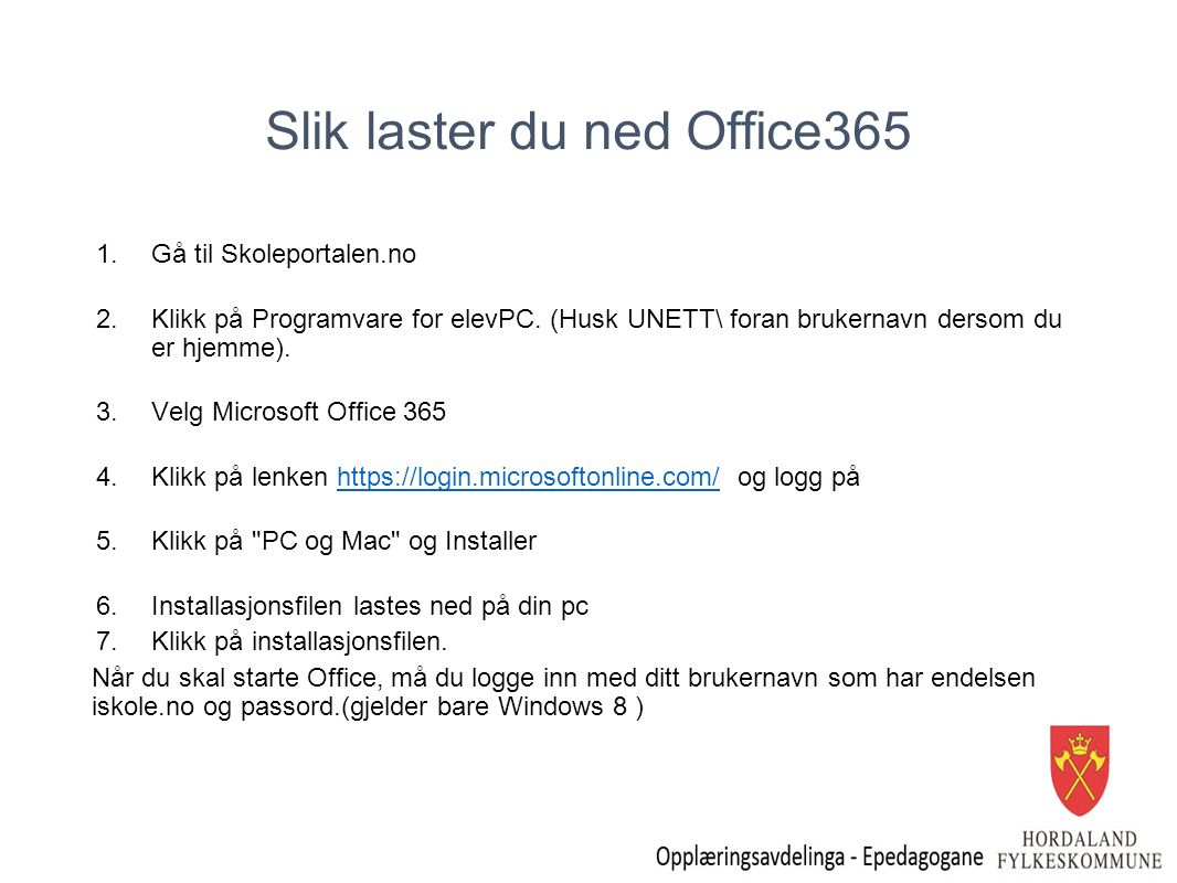 Slik laster du ned Office365