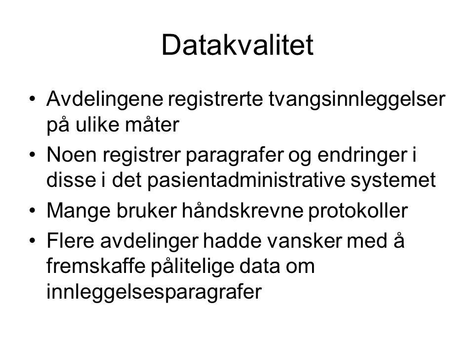 Datakvalitet Avdelingene registrerte tvangsinnleggelser på ulike måter