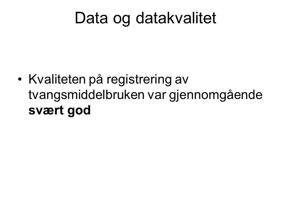 Data og datakvalitet Kvaliteten på registrering av tvangsmiddelbruken var gjennomgående svært god