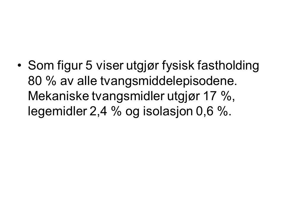 Som figur 5 viser utgjør fysisk fastholding 80 % av alle tvangsmiddelepisodene.