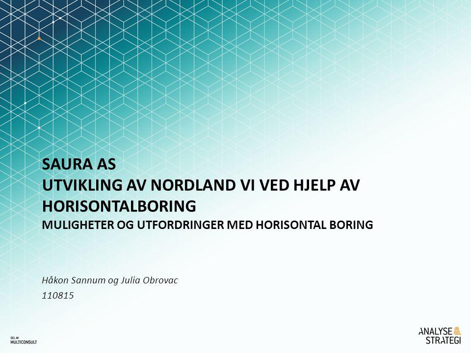 SAURA AS Utvikling av Nordland VI ved hjelp av horisontalboring Muligheter og utfordringer med horisontal boring