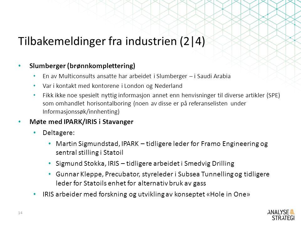 Tilbakemeldinger fra industrien (2|4)