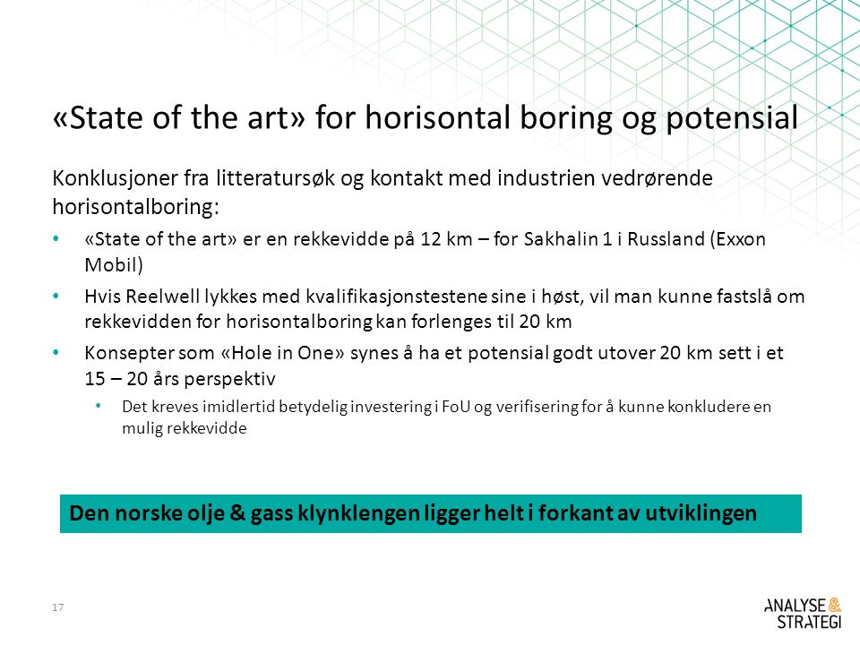 «State of the art» for horisontal boring og potensial