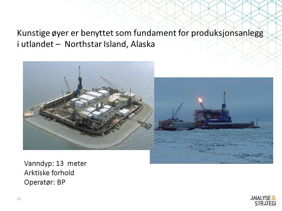 Kunstige øyer er benyttet som fundament for produksjonsanlegg i utlandet – Northstar Island, Alaska