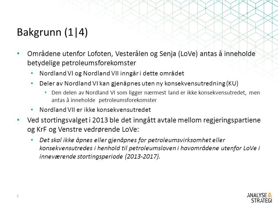 Bakgrunn (1|4) Områdene utenfor Lofoten, Vesterålen og Senja (LoVe) antas å inneholde betydelige petroleumsforekomster.