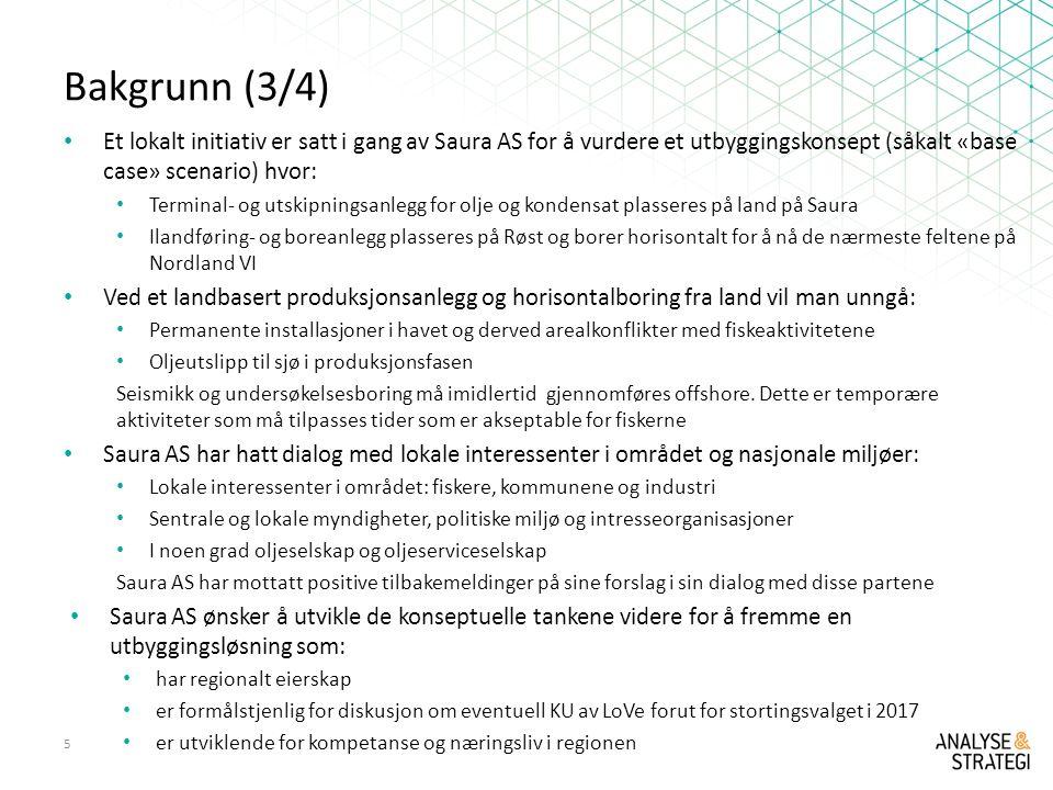 Bakgrunn (3/4) Et lokalt initiativ er satt i gang av Saura AS for å vurdere et utbyggingskonsept (såkalt «base case» scenario) hvor: