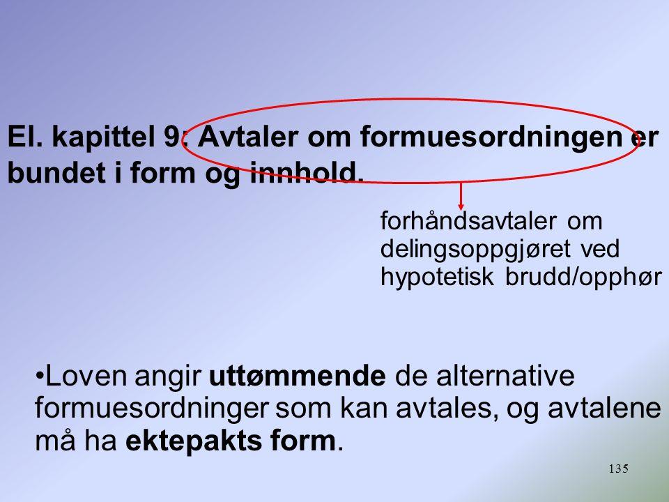 El. kapittel 9: Avtaler om formuesordningen er bundet i form og innhold.
