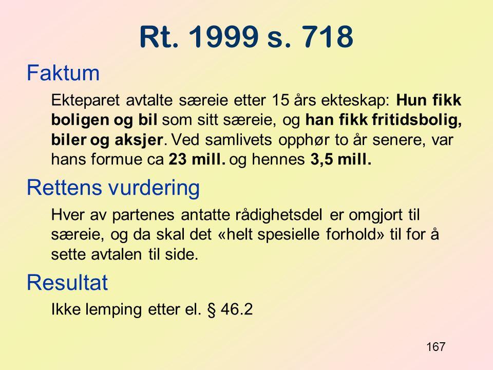 Rt. 1999 s. 718 Faktum Rettens vurdering Resultat