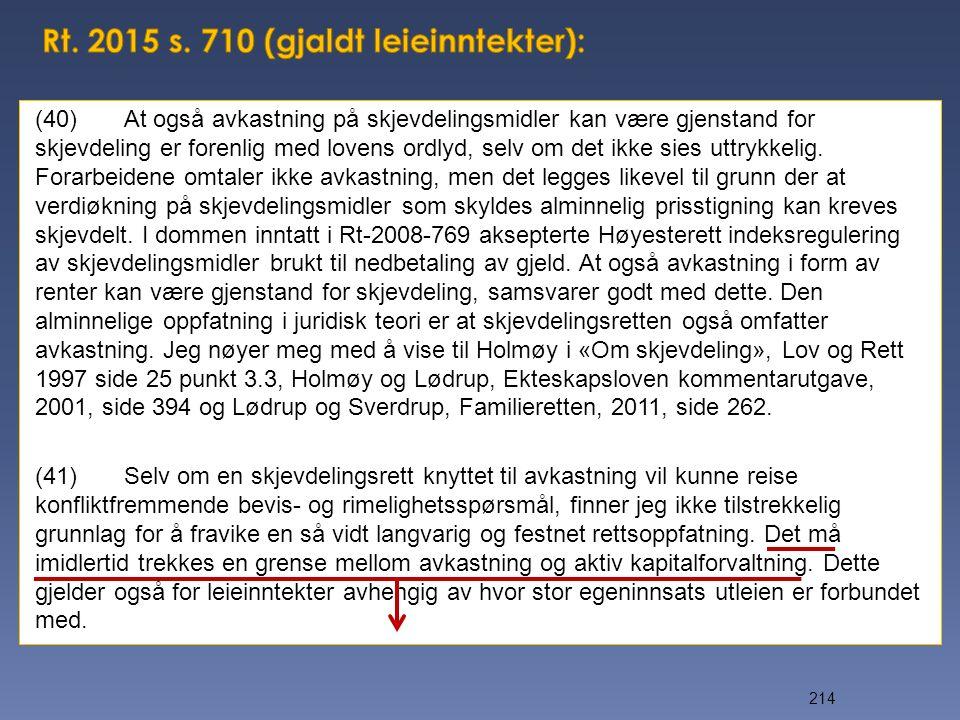 Rt. 2015 s. 710 (gjaldt leieinntekter):