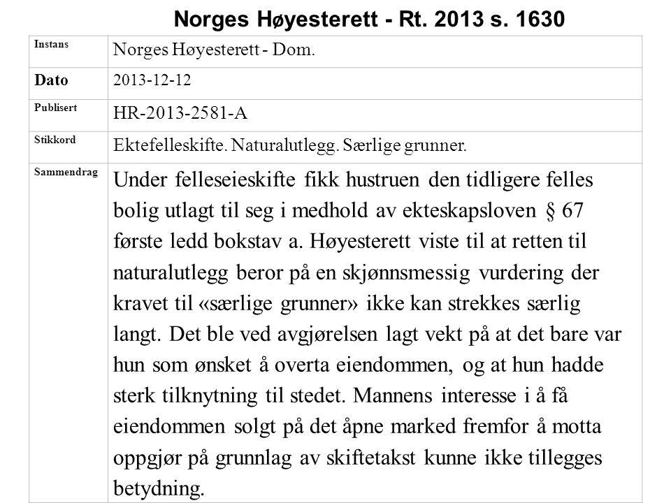 Norges Høyesterett - Rt. 2013 s. 1630