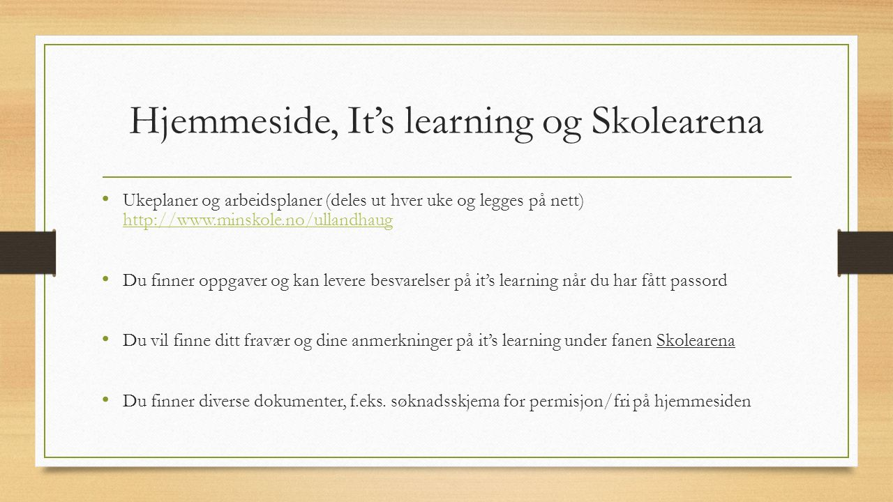 Hjemmeside, It's learning og Skolearena