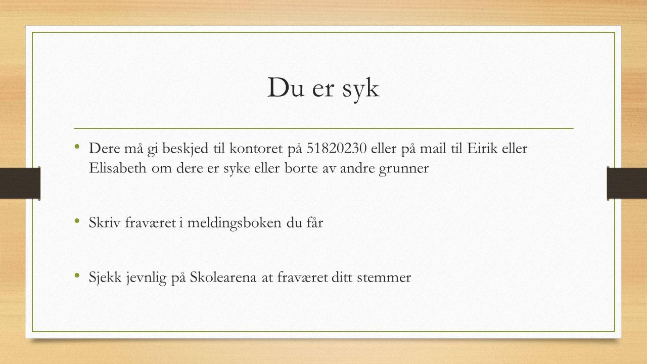 Du er syk Dere må gi beskjed til kontoret på 51820230 eller på mail til Eirik eller Elisabeth om dere er syke eller borte av andre grunner.