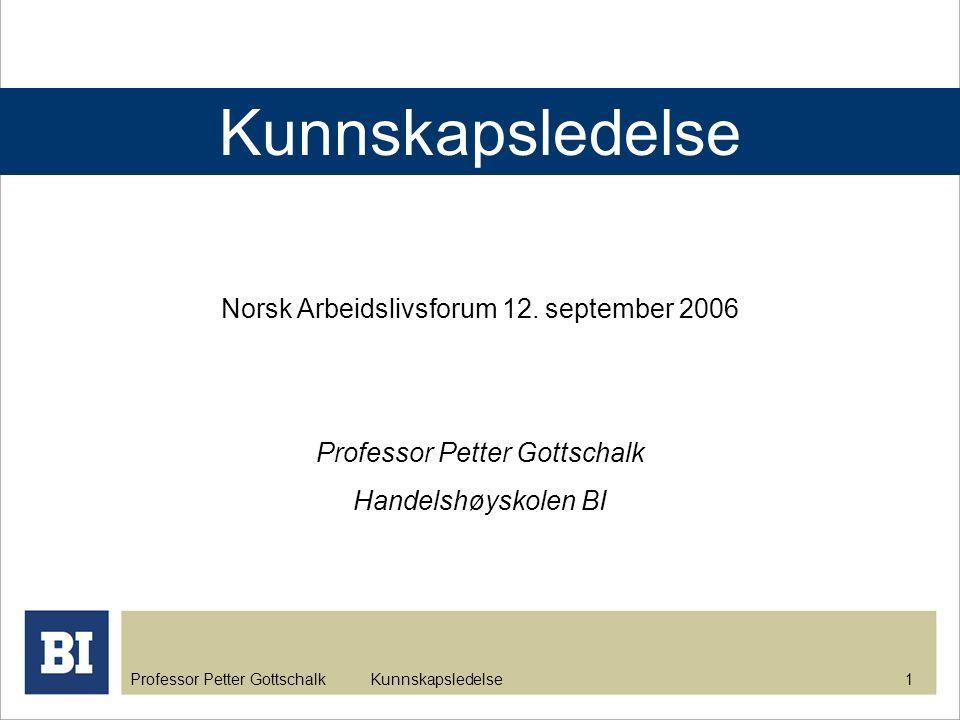 Kunnskapsledelse Norsk Arbeidslivsforum 12. september 2006