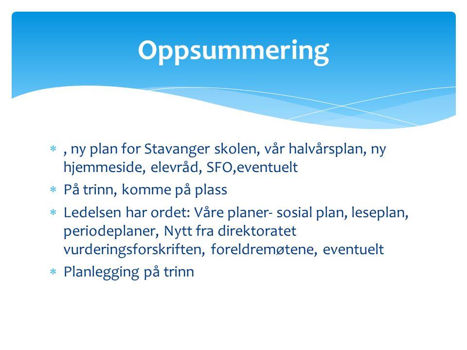 Oppsummering , ny plan for Stavanger skolen, vår halvårsplan, ny hjemmeside, elevråd, SFO,eventuelt.