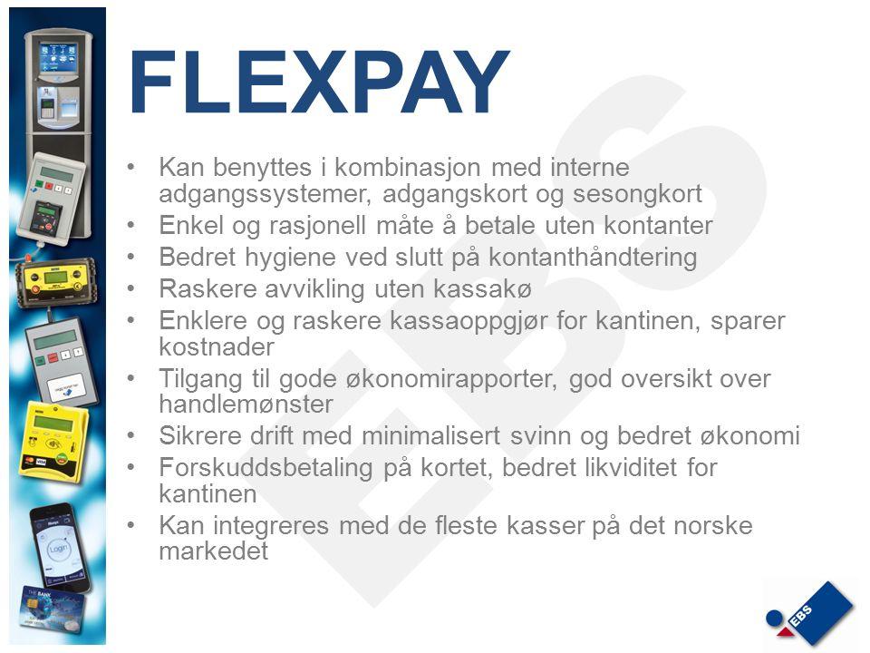 FLEXPAY Kan benyttes i kombinasjon med interne adgangssystemer, adgangskort og sesongkort. Enkel og rasjonell måte å betale uten kontanter.