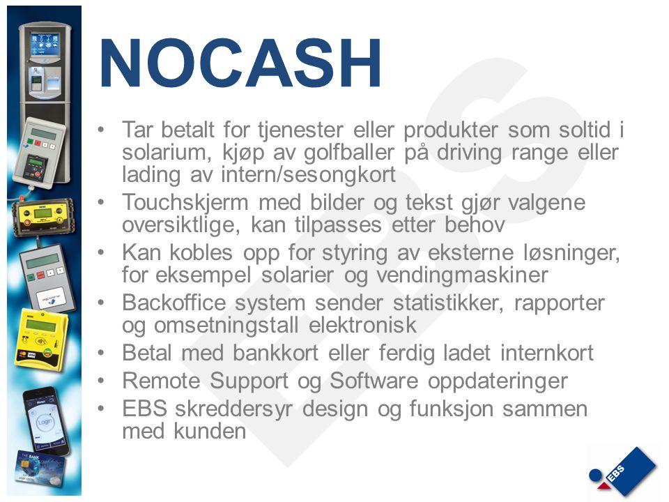 NOCASH Tar betalt for tjenester eller produkter som soltid i solarium, kjøp av golfballer på driving range eller lading av intern/sesongkort.