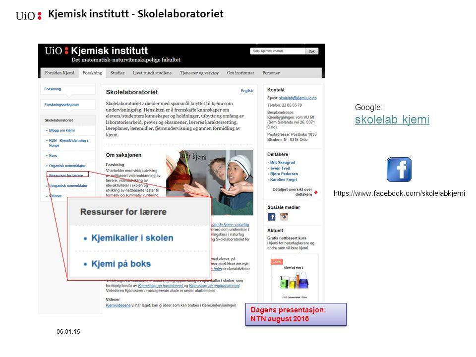 skolelab kjemi Google: https://www.facebook.com/skolelabkjemi