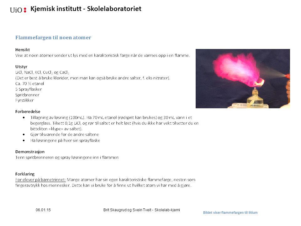 06.01.15 Brit Skaugrud og Svein Tveit - Skolelab-kjemi Bildet viser flammefargen til litium