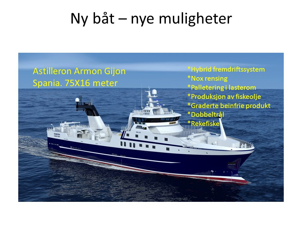 Ny båt – nye muligheter Astilleron Armon Gijon Spania. 75X16 meter