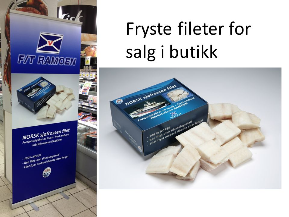 Fryste fileter for salg i butikk