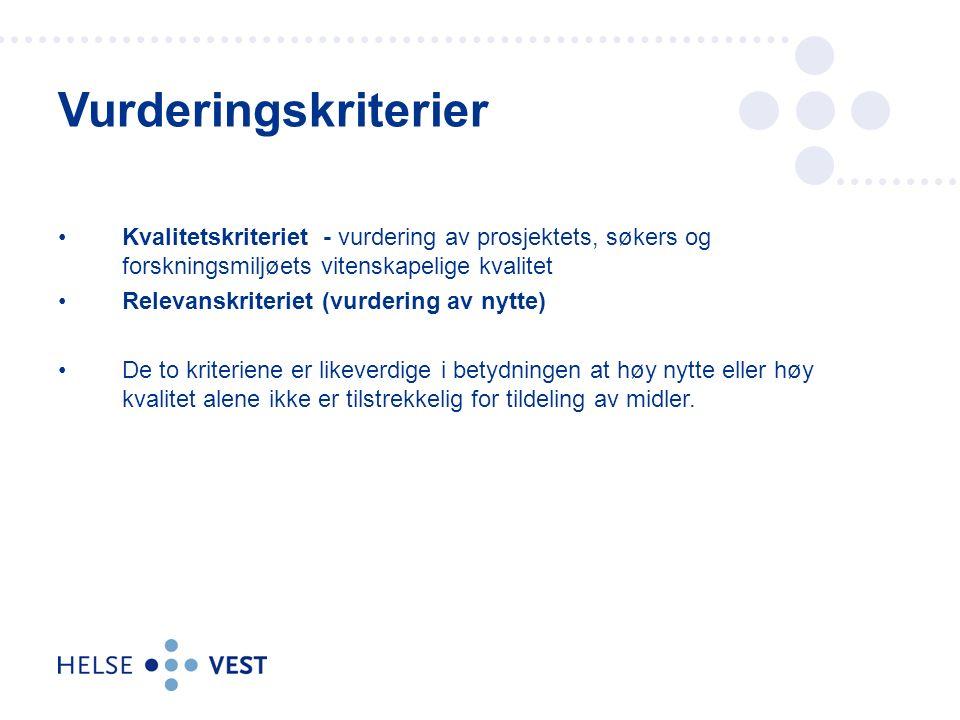 KKF 22.04.2017. Vurderingskriterier. Kvalitetskriteriet - vurdering av prosjektets, søkers og forskningsmiljøets vitenskapelige kvalitet.