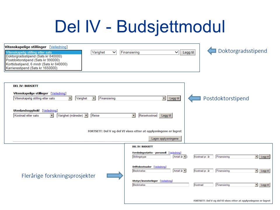 Del IV - Budsjettmodul Doktorgradsstipend Postdoktorstipend