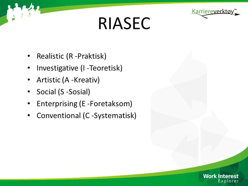 RIASEC Realistic (R -Praktisk) Investigative (I -Teoretisk)