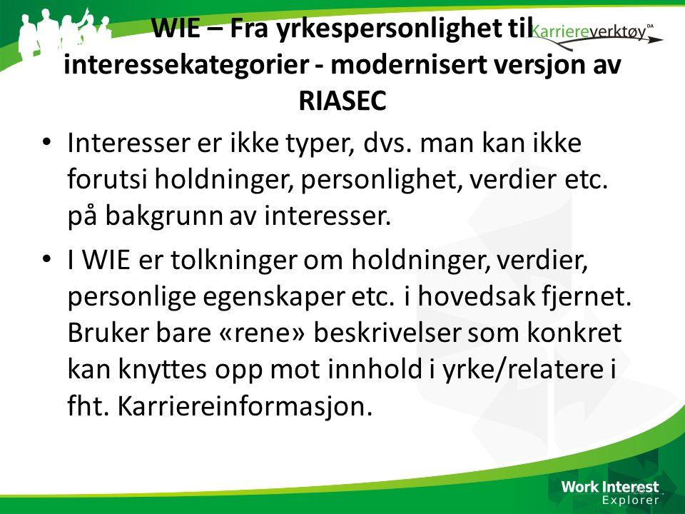 WIE – Fra yrkespersonlighet til interessekategorier - modernisert versjon av RIASEC