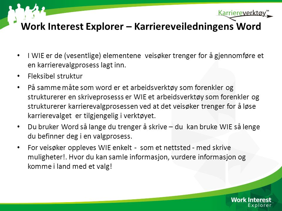 Work Interest Explorer – Karriereveiledningens Word