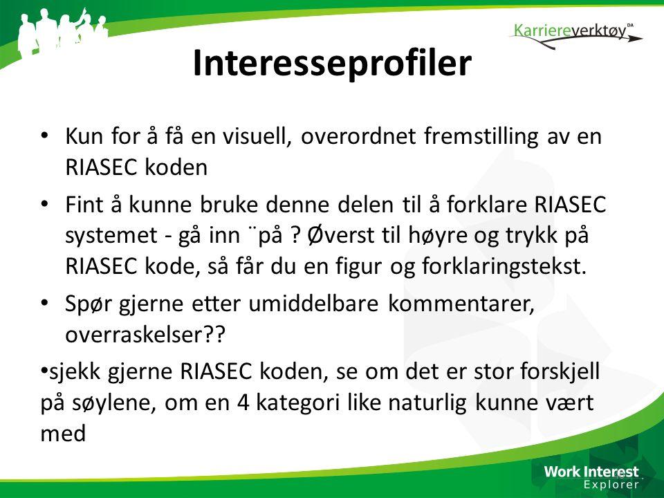 Interesseprofiler Kun for å få en visuell, overordnet fremstilling av en RIASEC koden.
