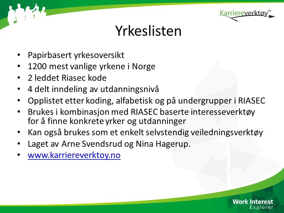 Yrkeslisten Papirbasert yrkesoversikt 1200 mest vanlige yrkene i Norge