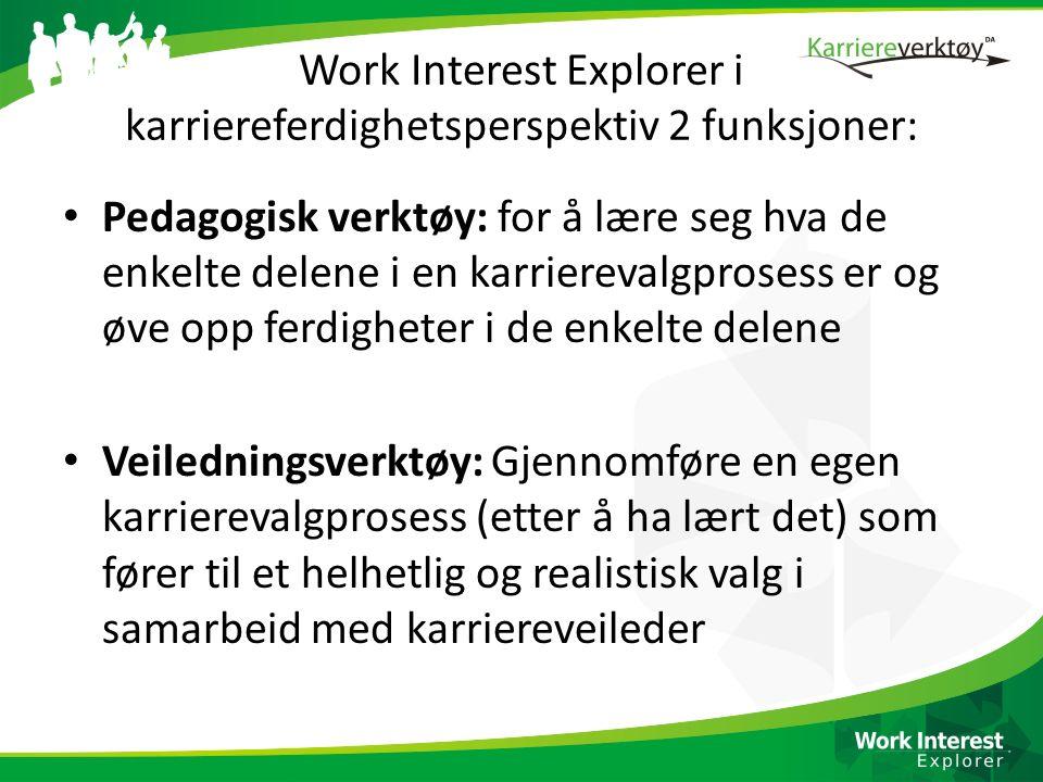 Work Interest Explorer i karriereferdighetsperspektiv 2 funksjoner: