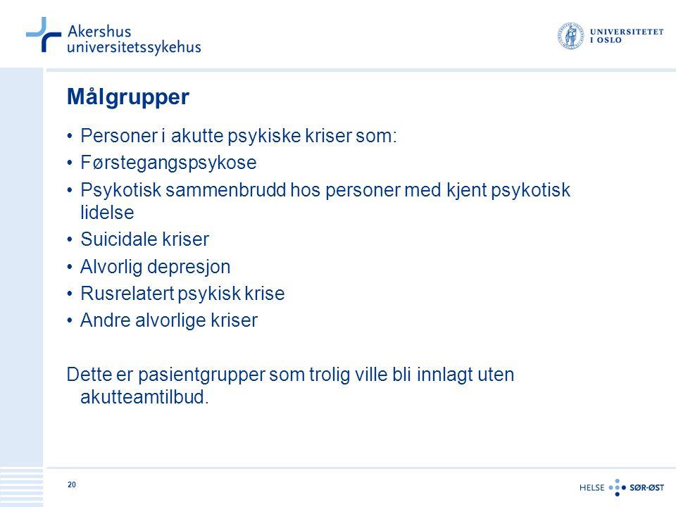 Målgrupper Personer i akutte psykiske kriser som: Førstegangspsykose