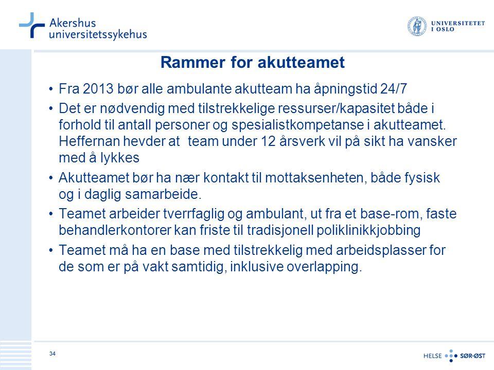 Rammer for akutteamet Fra 2013 bør alle ambulante akutteam ha åpningstid 24/7.