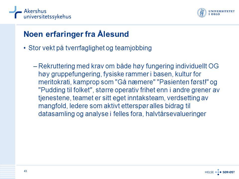 Noen erfaringer fra Ålesund