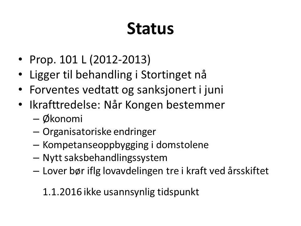 Status Prop. 101 L (2012-2013) Ligger til behandling i Stortinget nå
