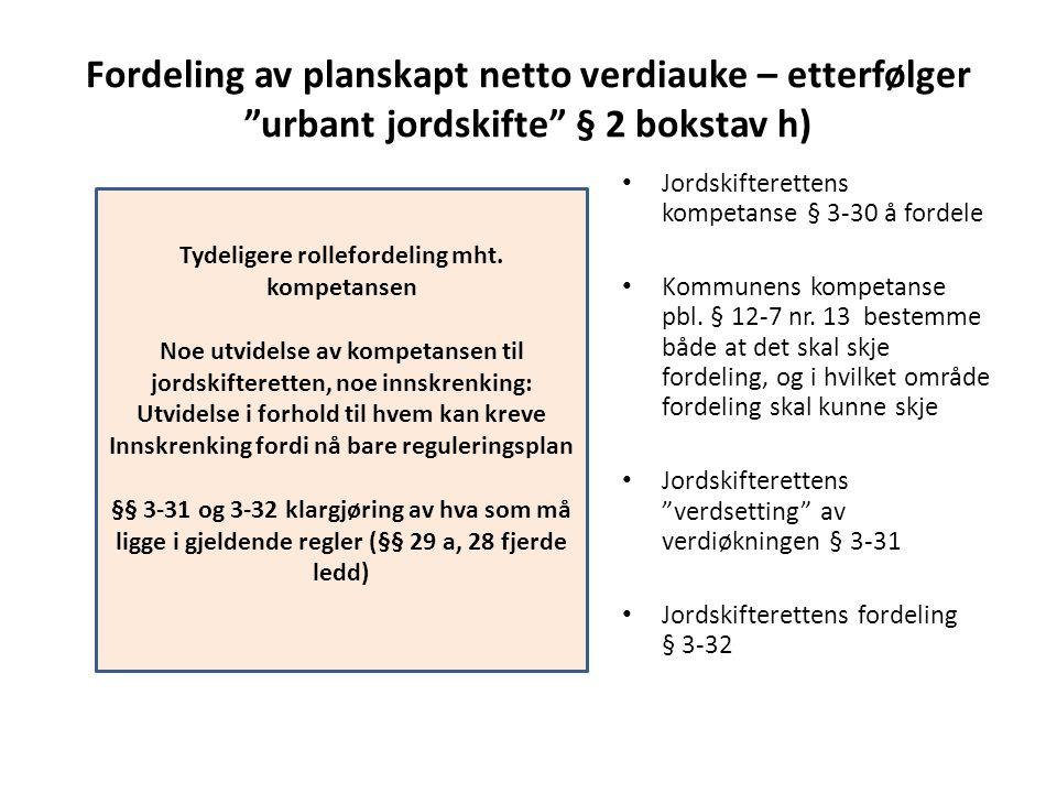 Fordeling av planskapt netto verdiauke – etterfølger urbant jordskifte § 2 bokstav h)