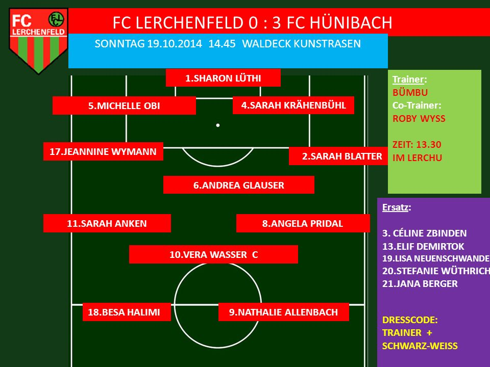 FC LERCHENFELD 0 : 3 FC HÜNIBACH