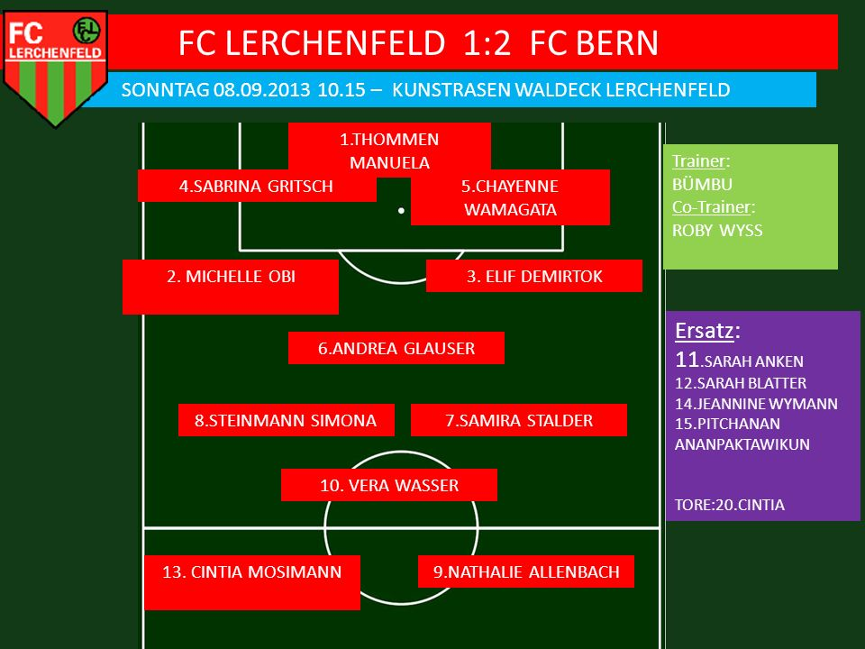 FC LERCHENFELD 1:2 FC BERN